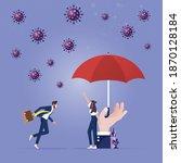 a big hand with umbrella...   Shutterstock .eps vector #1870128184
