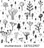 seamless pattern with trees.... | Shutterstock .eps vector #187012907