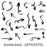 set of hand drawn arrow icon... | Shutterstock .eps vector #1870145701