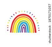 rainbow logo  cute hand drawn... | Shutterstock .eps vector #1870171057