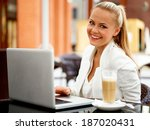 business woman outside on a... | Shutterstock . vector #187020431