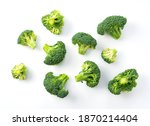 Cut Broccoli Placed On A White...