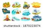 natural disasters set. wild... | Shutterstock .eps vector #1870223074