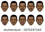 black man head in various face... | Shutterstock .eps vector #1870247164