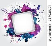 modern white frame with blue... | Shutterstock . vector #187025174