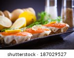 smoked salmon with capers... | Shutterstock . vector #187029527