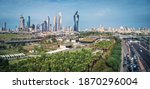 Small photo of Kuwait City 12012020: Aerial shot of a premier park in downtown Kuwait City and the skyscrapers in the background.
