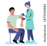 the doctor gives an injection... | Shutterstock .eps vector #1870340881