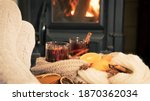 mulled wine by the fireplace  2 ... | Shutterstock . vector #1870362034