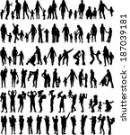 family silhouettes | Shutterstock .eps vector #187039181