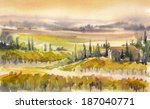 Country Landscape With Typical...