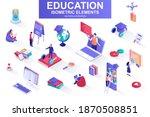 education bundle of isometric...   Shutterstock .eps vector #1870508851