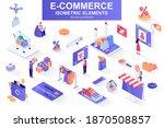 e commerce bundle of isometric...   Shutterstock .eps vector #1870508857