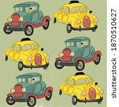 pattern of vintage cars in...   Shutterstock . vector #1870510627