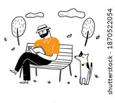 the old man sitting on the park ... | Shutterstock .eps vector #1870522054