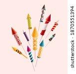 fireworks set rocket. colorful...   Shutterstock .eps vector #1870551394