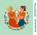 best friends or lesbian couple...   Shutterstock .eps vector #1870557754