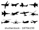 aircraft silhouettes | Shutterstock .eps vector #18706150