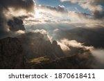 Stunning morning view in Dolomites from Lagazuoi Mountain, beautiful sunrise alpine panorama, Italy, Europe - stock photo