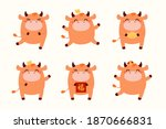 2021 chinese new year cute... | Shutterstock .eps vector #1870666831