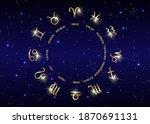 wheel of the zodiac set... | Shutterstock .eps vector #1870691131
