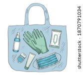 travel sanitizer kit.... | Shutterstock .eps vector #1870791034
