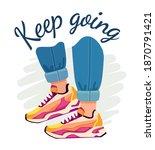 slogan and sneakers. street...   Shutterstock .eps vector #1870791421