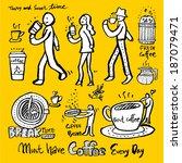 coffee poster | Shutterstock .eps vector #187079471