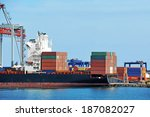container stack and ship under... | Shutterstock . vector #187082027