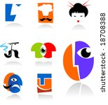 collection of face icons   for... | Shutterstock .eps vector #18708388