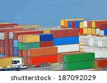 port cargo container in port of ... | Shutterstock . vector #187092029