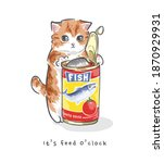 Cartoon Cute Kitten Opening...