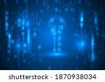 digital key on binary code...   Shutterstock .eps vector #1870938034