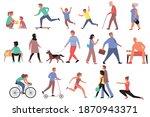 walking people flat set of... | Shutterstock .eps vector #1870943371