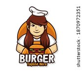 woman chef burger logo...   Shutterstock .eps vector #1870972351