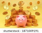 piggybank and money tower on... | Shutterstock . vector #1871009191