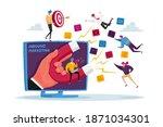 huge hand on computer monitor... | Shutterstock .eps vector #1871034301