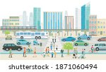city with road traffic ... | Shutterstock .eps vector #1871060494