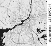 Urban city map of Gothenburg. Vector illustration, Gothenburg map grayscale art poster. Street map image with roads, metropolitan city area view.