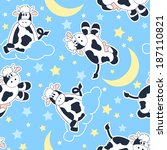 and,animal,background,black,blue,cloud,cow,cute,farm,moon,night,pattern,repeat,seamless,sitting