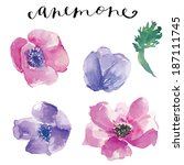 watercolor vector flowers.... | Shutterstock .eps vector #187111745