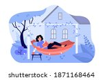 happy girl relaxing in backyard ... | Shutterstock .eps vector #1871168464