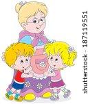 granny and her grandchildren | Shutterstock .eps vector #187119551
