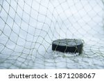 Hockey puck in goal at the...
