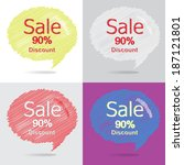 colorful set of 90 percent... | Shutterstock .eps vector #187121801