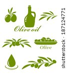 set of green olive design... | Shutterstock . vector #187124771