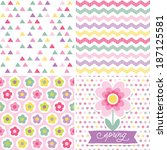 set of cute seamless retro... | Shutterstock .eps vector #187125581