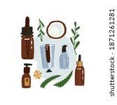 organic cosmetics top view...   Shutterstock .eps vector #1871261281