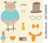 funny hipster constructor.... | Shutterstock .eps vector #187126445