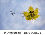 A Yellow Fallen Maple Leaf Lies ...
